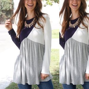 Navy & Gray Color Block Long-Sleeve Tunic